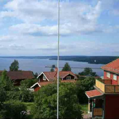 View over the lake Siljan and our house to the right.